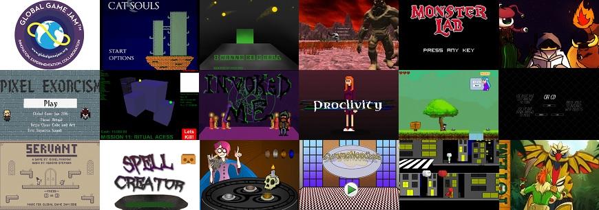 mosaico com jogos criados na GGJ 2016